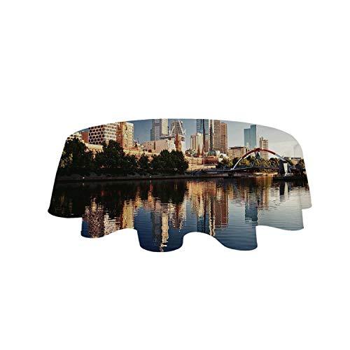 YOLIYANA City Tablecloth,Idyllic View of Yarra River Melbourne Australia Architecture Tourism for Café,63