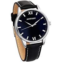 ADORARE Quartz Watch for Men, Waterproof Wrist Watch with Classic Black Leather and Japanese Quartz Movement for Boys Men Business Casual Office School, Black Dial