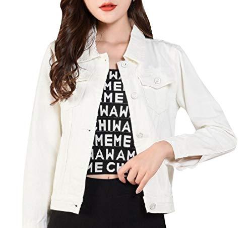 Trucker Jacket Style Classic Retro White Women Down Button Fit VITryst xw850YqFw