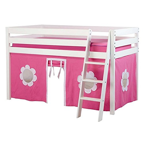 Jackpot! Essentials Low Loft Play Bed with Angled Ladder and Hot Pink/White Curtains, White Finish