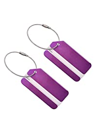 Set of 2 Aluminum Metal Travel Suitcase Luggage Identifier Tags Labels Bag ID Name Address Holder Tag Label with Screw Chain, Purple