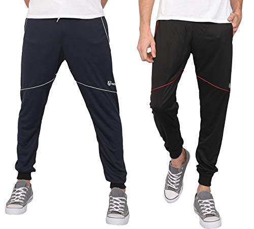 181f6bcb VERSATYL Mens Active-wear Joggers Track Pant Combo Pack of 2 (Blue-Black