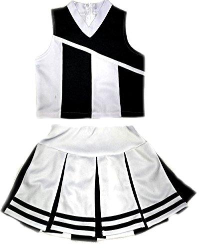 Little Girls' Cheerleader Cheerleading Outfit Uniform Costume Cosplay White/Black (M / 5-8)