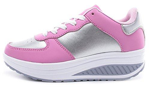trekking palestra formatori scarpe esecuzione delle fitness in sport donne da NEWZCERS sportive jogging scarpe Rosa ragazze formatori moda cuneo da YXPxRWX4