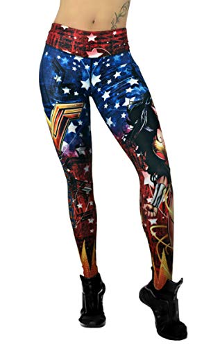 Activewear Superhero Many Styles Leggings Yoga Pants Compression Tights (Wonder Woman -