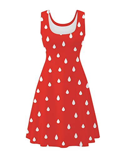 Uideazone Women's Fruit Strawberry Scoop Neck Midi Dress Sleeveless A-line Cocktail Party Tank Dress ()