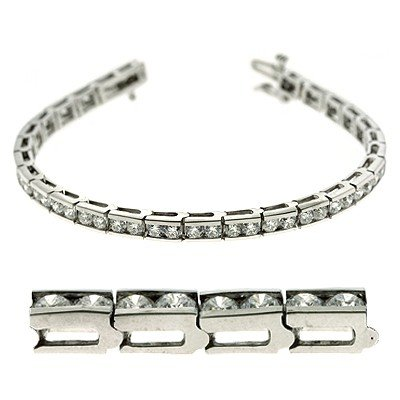 Or blanc 14carats 5.77DWT Diamant de bracelet de tennis