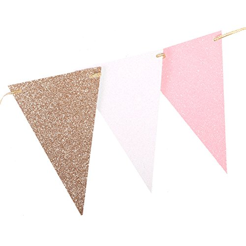(Ling's moment 10 Feet Vintage Double Sided Glitter Triangle Flag Bunting Pennant Banner for Wedding Christmas New Year Eve Party Decor, Upgrade Glitter Version, Gold+White+Pink 15 Flags, Pack of)