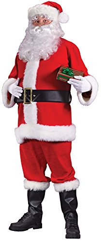 Fun World Costumes Men's Plus Sized Flannel Santa Suit, Red/White, X-Large (Santa Claus Costumes For Sale)