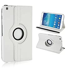 Samsung Galaxy Tab3 8.0 Case,Samsung T310 Tablet Cover,Beebiz 360 Degree Rotating Pu Leather Flip Folio Case Stand Cover for Samsung Tab 3 8 T310 Tablet Protective Skin Shell(White)
