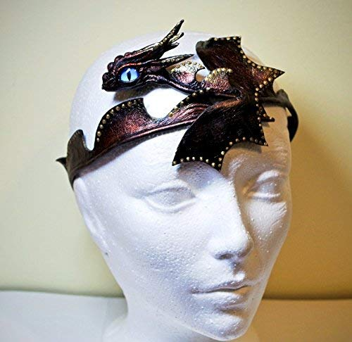 Real leather dragon Headpiece/Headdress/Tiara for special occaisions, formal, festivals, burning man. Leather cuff costume cosplay.