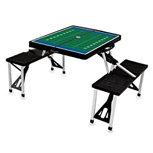 Picnic Time 'Portable Folding Picnic Table' with Football Field Design and Seating for 4, Black