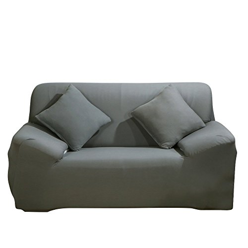 2 Seater Sofa Beds - WATTA Grey Loveseat 2 Seater Stretch Elastic Polyester Spandex Slipcover