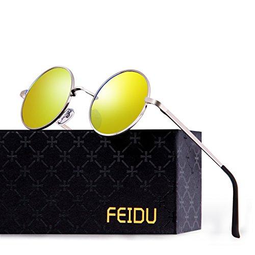 FEIDU-Men Round Retro Polarized Sunglasses Women Vintage Sunglasses FD3013 (Yellow/Silver, - Vintage Sunglasses Yellow