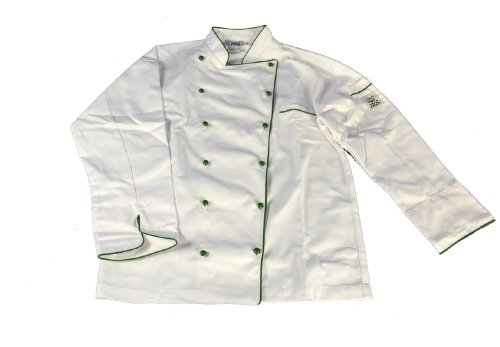 San Jamar J044GN Chef-tex Poly Cotton Brigade Jacket with Green Piping and Push Through Button, Small, White by San Jamar