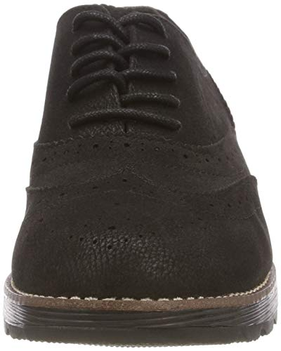 21 5 1 Mujer Oliver 5 Zapatos de s Negro 001 Black 23614 Cordones para Brogue qAw45InFx