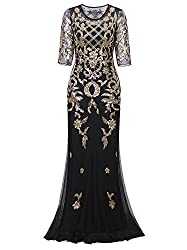 Vijiv Vintage 1920s Long Wedding Prom Dresses 2 3 Sleeve Sequin Party Evening Gown Xx Large Black Gold