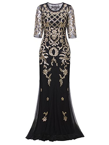 Vijiv Vintage 1920s Long Wedding Prom Dresses 2/3 Sleeve Sequin Party Evening Gown, Black/Gold, L