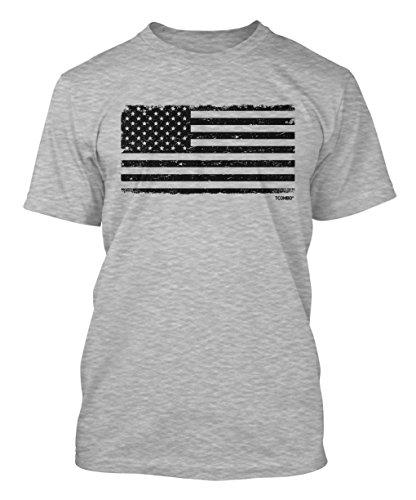 Distressed Black USA Flag Men's T-shirt (3XL, LIGHT GRAY)