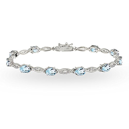 GemStar USA Sterling Silver Blue and White Topaz Oval-Cut Swirl Tennis - Pendant Blue Topaz Bracelet