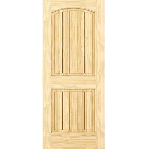 2-Panel Door, Interior Door Slab, Solid Pine, Arch Top, V-Grooves (28x80) by Kimberly Bay TM