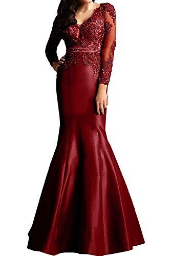 Brautmutterkleider Meerjungfrau Charmant Schnitt Still Weinrot Promkleider 2018 Abendkleider Schmaler Neu Damen Langarm rzKzgwx1Yq