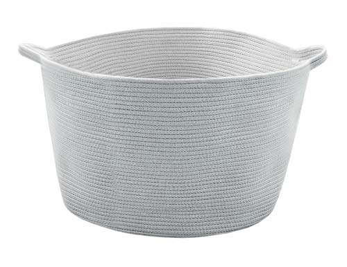 Zozha XXX Large Woven Cotton Round Storage Rope Basket with Handles 23.6 inches x 14.2 inches Foldable Perfect for Laundry Hamper Blankets Pillows Towels Toys Ice Gray with White Stitching