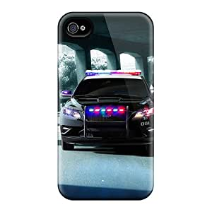 Rugged Skin Case Cover For Iphone 4/4s- Eco-friendly Packaging(02 Ford Police Interceptor Concept 2010)