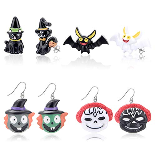 Zhenhui Halloween Earrings Set - 4 Pairs Halloween Stud Earrings and Drop Dangle Earrings for Women Girls,Including Halloween Ghost,Witch,Cat,Bat Earrings,Perfect Idea (4 Pairs Colorful, Resin)