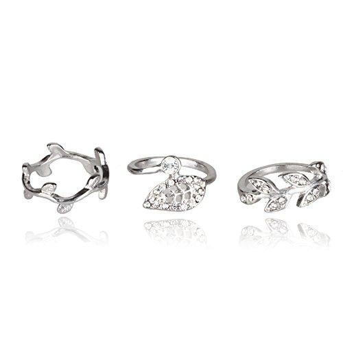 SUMAJU 3pcs Alloy Crystal Leaf Above Knuckle Mid Finger Midi Nail Ring Set