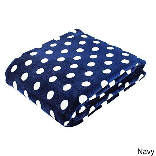 Cozy Fleece Polka Dot Super Soft Oversized Throw 60 x 80 Navy
