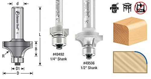 Amana Tool MR0112 Corner Rounding with Mini Ball Bearing Guide 7/16-Inch Diameter, 1/8-Inch Radius, 1/4-Inch Shank Carbide Tipped Router Bit