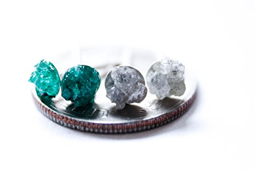Dioptase & Raw Diamond Earring Bundle on Solid Sterling Silver - Holiday Gift Idea