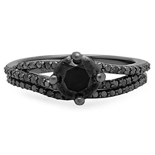 1.35 Carat (Ctw) Black Rhodium Plated Silver Black Diamond Ladies Bridal Engagement Ring Set (Size 6.5) by DazzlingRock Collection (Image #2)