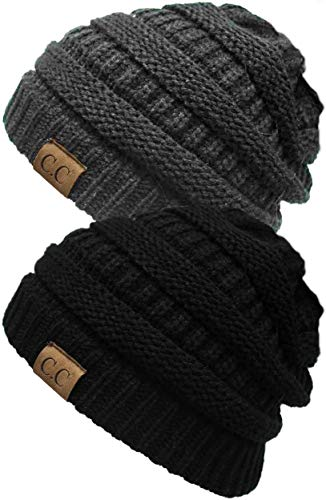 H-6020a-2-0670 Solid Ribbed Beanie Bundle - Black & Charcoal (2 Pack)