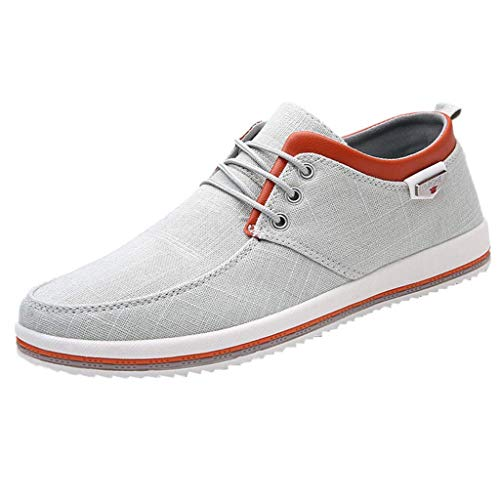 HULKAY Men's New Shoes Casual Large Size Handmade Loafers Shoes for Men(Gray,US:10/CN:46)