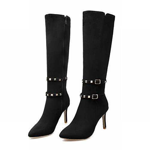 Sexy Stiletto Zip Carolbar Rivets Long Boots High Women's Heel Black Fashion 4YqZq5wU