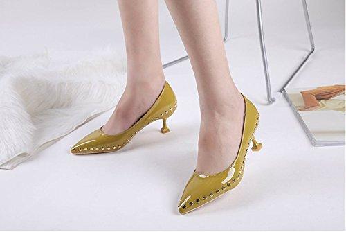 La Superficial Shoes Muelle Boca del Alto Solo GAOLIM Remache Zapatos del 3 Amarillo Zapatos De Talón con Finos Punta 5Cm con A Y Alto Heel Luz wP01vq0xaf