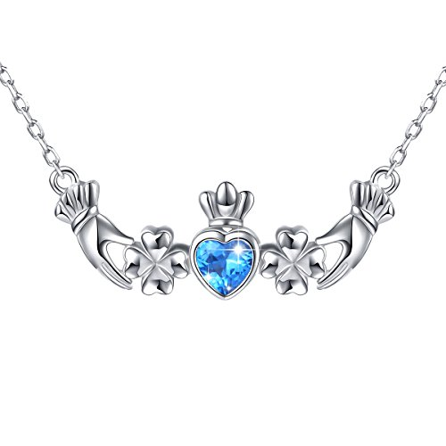 925 Sterling Silver Blue Cz Heart Irish Shamrock Lucky Clover Claddagh Pendant Necklace for Women, (Irish Heart Necklace)