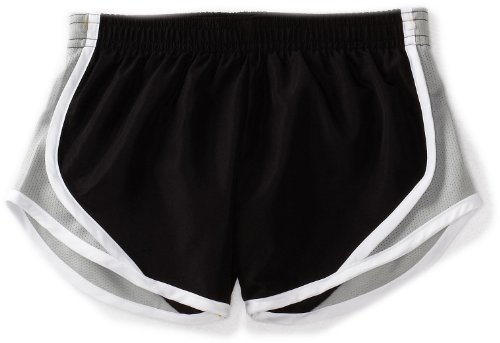 (Soffe Big Girls' Team Shorty Short, Black/Silver, Large)