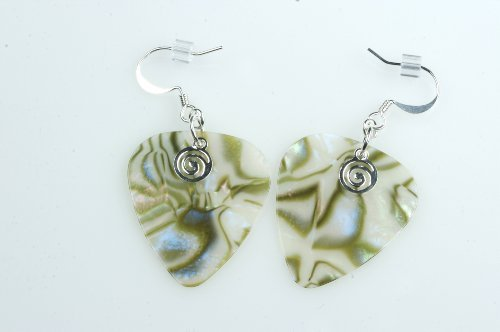 Guitar Pick Jewelry Earrings - PickC Jewelry Guitar Pick Earrings - Abalone & Silver