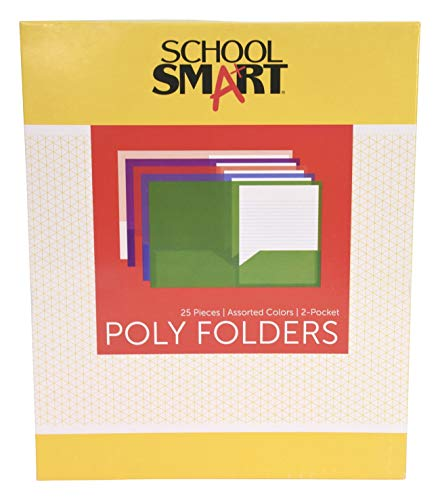 (School Smart 2-Pocket Portfolios Without Fasteners, 8-1/2 x 11 Inches, Assorted Colors, Pack of 25)