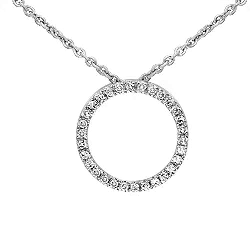 100% Real Diamond Necklace Circle Necklace 1/10 cttw Lab Grown Diamond Circle Pendants For Women Lab Created Diamond Pendant SI-GH Quality 10K Real Diamond Pendant With Free Gold Chain (Jewelry Gifts)