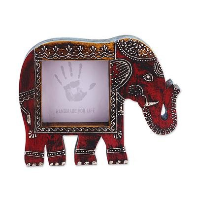 Artistic Elephant Wooden (Purpledip Artistic Photoframe Wooden Elephant Shaped for 4x4 inch Photo Size Unique Indian Souvenir (10988))