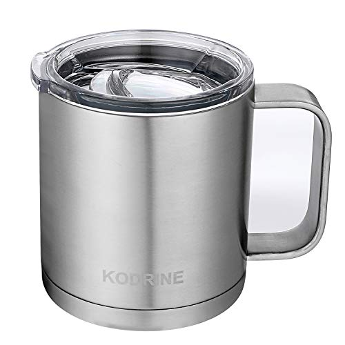 12 oz Double Wall Vacuum Insulated Stainless Steel Coffee Mug with Lid and Handle - BPA Free,Sliver