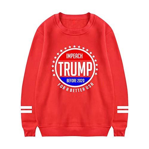 Heiazha Womens Print Sweatshirts,Funny Creative Trump Logo Plush Hipster Long Sleeves Hoodies L -