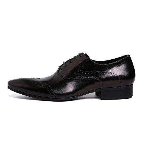 Santimon Mens Fashion Semi Brogue Pointed Toe Oxfords Dress Formal Lace-UPS Shoes Black FXu7qNL4