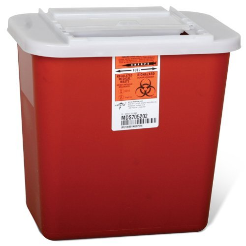 20 Pc Biohazard 2 Gallon Multipurpose Sharps Container Lid Medical Aid Waste Needle Disposal Case by 2020 Co.