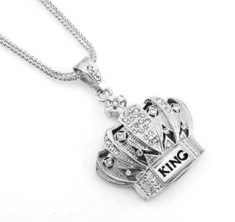 Hip Hop Bling Silver Tone King Crown Pendant Necklace free 36
