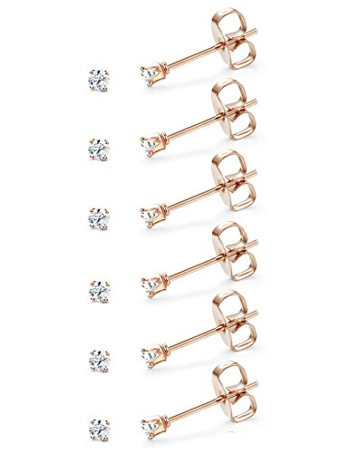 Gold Tone Sport Earrings - Udalyn 6-12 Pairs Tiny 2mm Stainless Steel Stud Earrings For Mens Womens CZ Round Ball Earrings Set (G: 6 Pairs, Rose Gold Tone CZ Earrings)